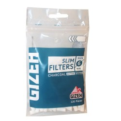 FILTERS GIZEH SLIM 6mm WITH CARBON 120 PCS
