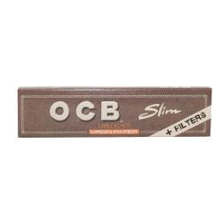OCB UNBLEACHED KING SIZE SLIM CIGARETTE PAPER + TIPS