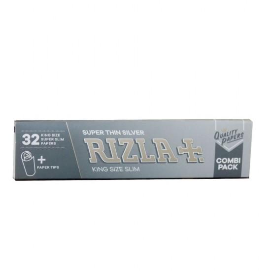 RIZLA SILVER KING SIZE CIGARETTE PAPER + TIPS